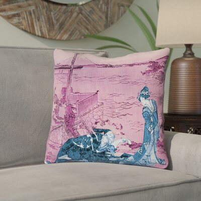 Enya Japanese Courtesan Cotton Throw Pillow Color: Blue/Pink, Size: 14 x 14