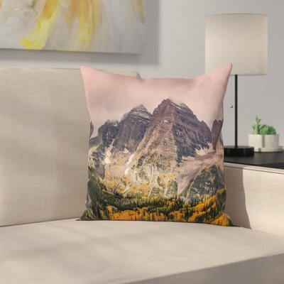 Nature Mountain Forest Scenery Square Pillow Cover Size: 18 x 18