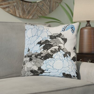 Clair Peonies and Butterfly Indoor Throw Pillow Size: 18 H x 18 W, Color: Gray/Blue