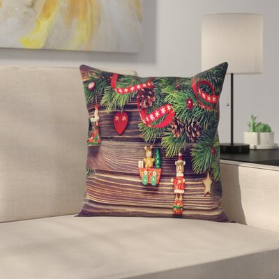 Christmas Vintage Toys Wood Square Pillow Cover Size: 16 x 16