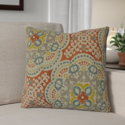 Mable 100% Cotton Throw Pillow Color: Coral
