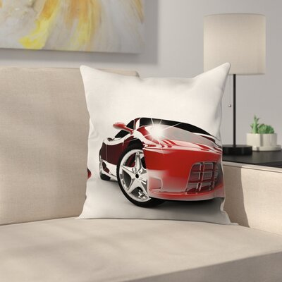 Teen Room Decor Modern Auto Car Square Pillow Cover Size: 18 x 18