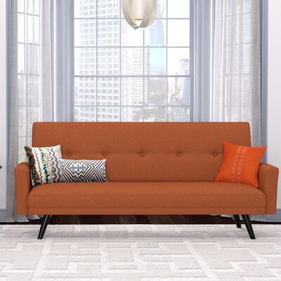 Westbrooks Click Clack Futon Convertible Sofa Upholstery: Orange