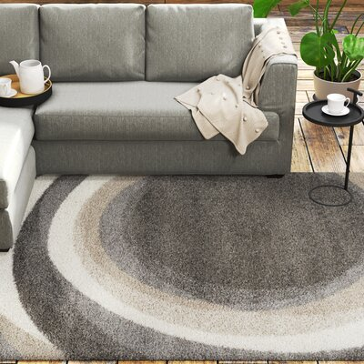 Kellan Downward Spiral Gray Area Rug Rug Size: 111 x 37