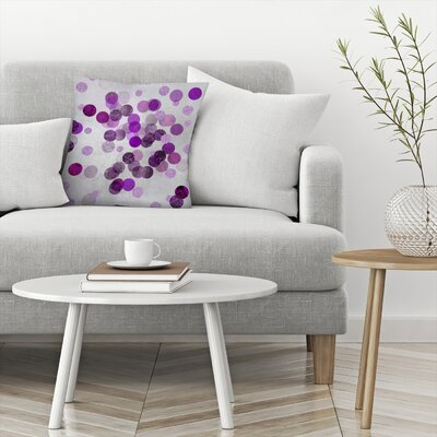 Shimmering Dots Throw Pillow Size: 16 x 16, Color: Blue Gray/Violet/Violet/Maximum Purple