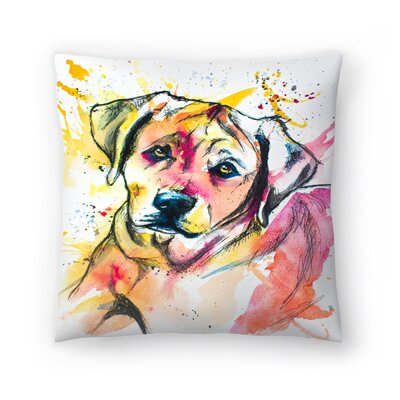Colorful Lab Mix Throw Pillow Size: 16 x 16