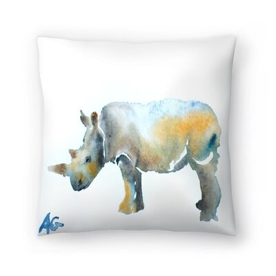 Rhinoceros Throw Pillow Size: 14 x 14