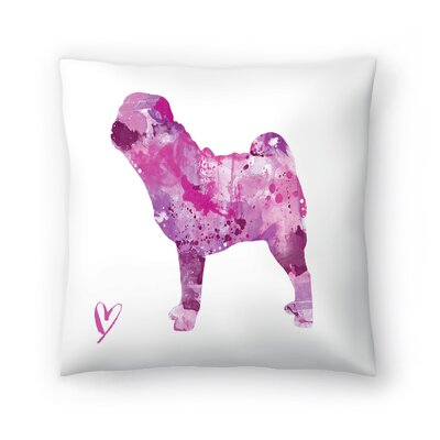 Pug Silhouette Throw Pillow Size: 14 x 14