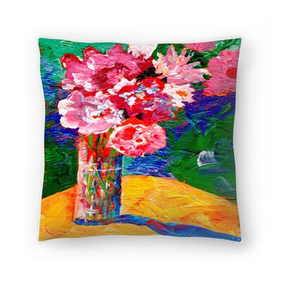 Sunshine Taylor Flowers Background Indoor/Outdoor Throw Pillow Size: 16 x 16