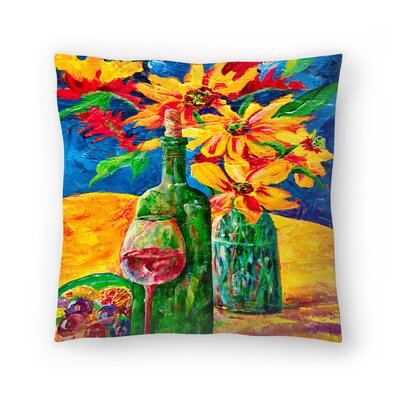 Sunshine Taylor Wine and Flowers Indoor/Outdoor Throw Pillow Size: 18 x 18