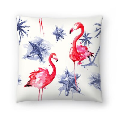 Beach Flamingos Repeat Tile Throw Pillow Size: 14 x 14