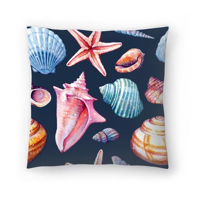 Seashells Pattern Repeat Tile Throw Pillow Color: Black/Eggplant/Turquoise, Size: 14 x 14