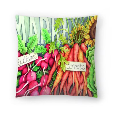 Market Throw Pillow Color: Red/Eggplant/Light Green, Size: 18 x 18
