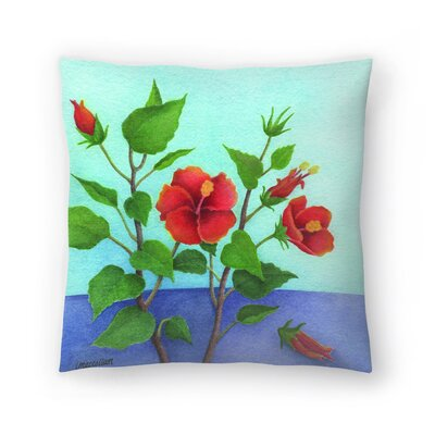 Hibiscus Throw Pillow Size: 16