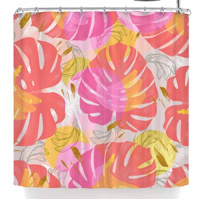 Mmartabc Monstera with Tropical Banana Shower Curtain