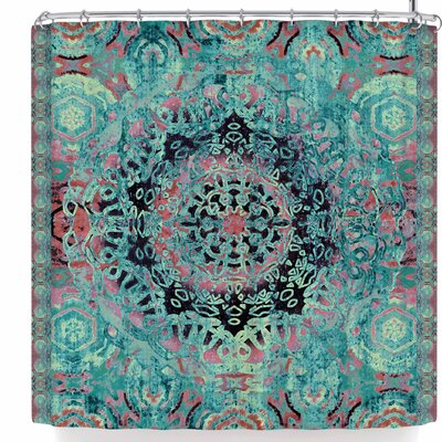 Nina May Magi Mandala Rose Gold Shower Curtain Color: Aqua Teal
