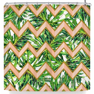 Mmartabc Leaf and Geometric Shower Curtain