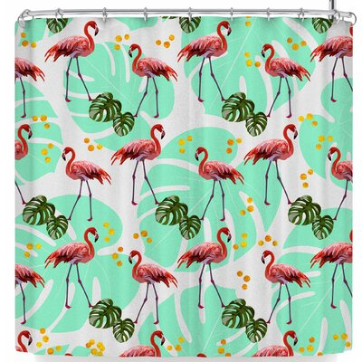 Mmartabc Flamingos with Monster Shower Curtain