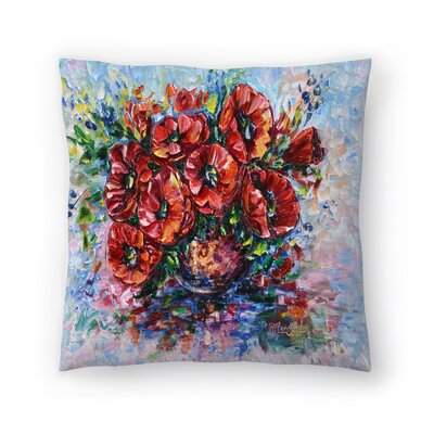Olena Art Poppies in Vase Throw Pillow Size: 16 x 16