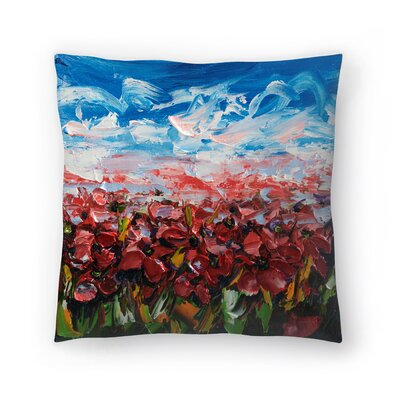 Olena Art Poppy Field Throw Pillow Size: 18 x 18