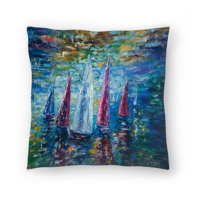 Olena Art Sails to Night Throw Pillow Size: 18 x 18