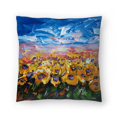 Olena Art Sunflower Field Throw Pillow Size: 14 x 14