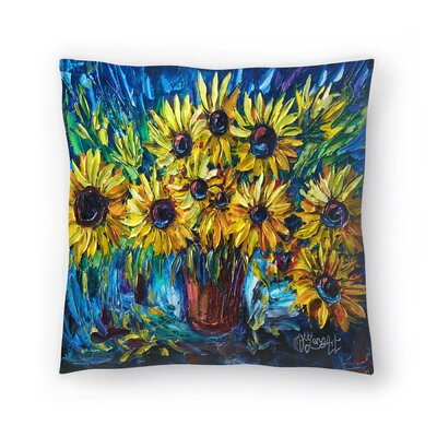 Olena Art Sunflowers Throw Pillow Size: 20 x 20
