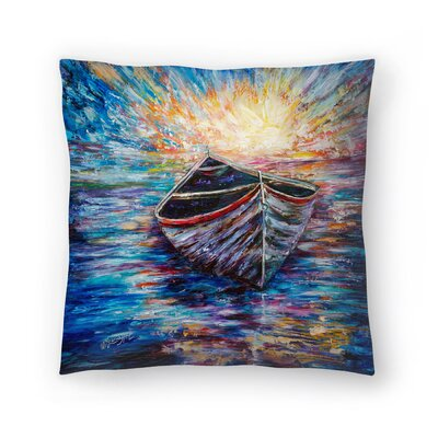 Olena Art Wooden Boat at Sunrise Throw Pillow Size: 20 x 20