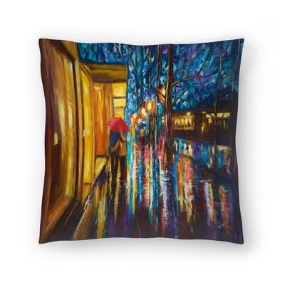 Olena Art Love in the Rain Throw Pillow Size: 20 x 20