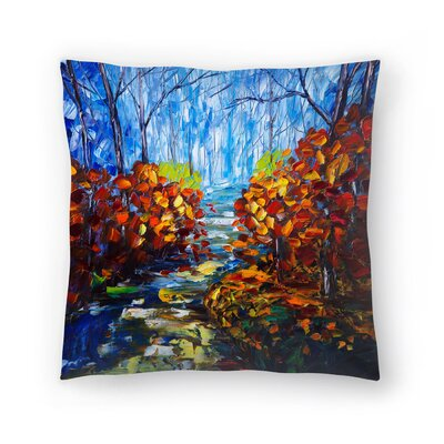 Olena Art Misty Path Throw Pillow Size: 16 x 16