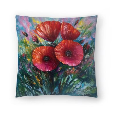 Olena Art Poppies Throw Pillow Size: 14x14