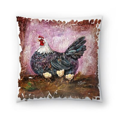 Olena Art Hen with Chicks Fresco Throw Pillow Size: 20x20