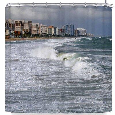Nickn Florida Crashing Waves Shower Curtain