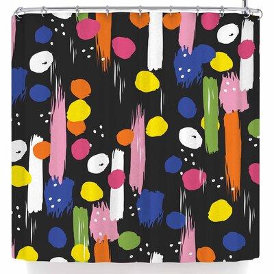 Neelam Kaur Brushstrokes Pantone Rev It Up Shower Curtain