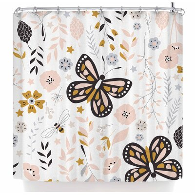 Bluelela Butterflies and Flowers 001 Shower Curtain