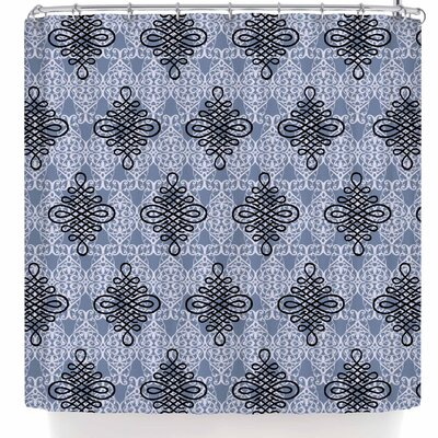 Nl Designs Damask Shower Curtain Color: Purple/Black