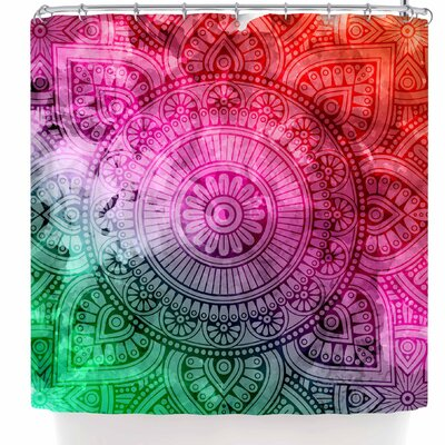 Nl Designs Rainbow Grunge Mandala Shower Curtain Color: Red/Green