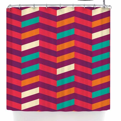 Bluelela Chevron Vibrant 002 Shower Curtain Color: Red/Green
