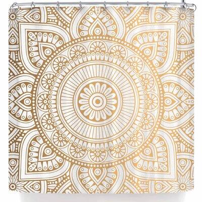 Nl Designs Rainbow Grunge Mandala Shower Curtain Color: Gold/White