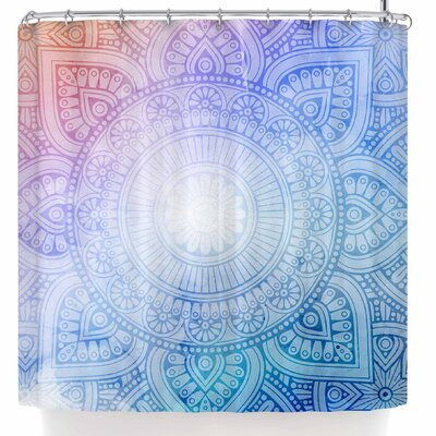 Nl Designs Rainbow Grunge Mandala Shower Curtain Color: Blue/Orange