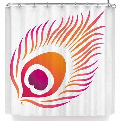 Nl Designs Modern Peacock White Shower Curtain