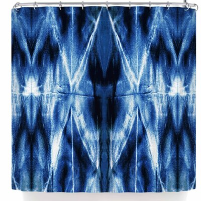Nina May White Shibori Argyle Shower Curtain Color: Blue/Black