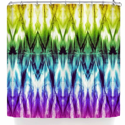 Nina May White Shibori Argyle Shower Curtain Color: Purple/Green
