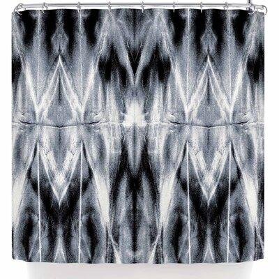 Nina May White Shibori Argyle Shower Curtain Color: Black/Gray
