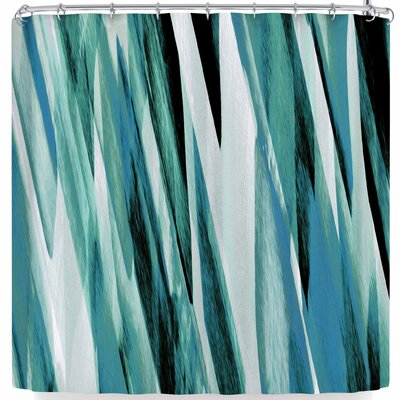 Nina May Brush Strokes Shower Curtain Color: Teal White