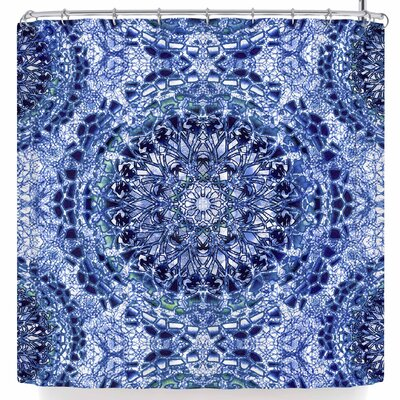 Nina May Lace Mandalas Shower Curtain Color: Blue/White