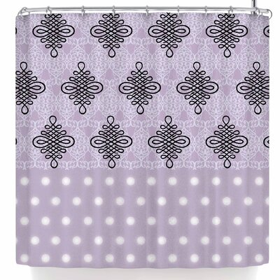 Nl Designs Lavender Damask and Polkadot Shower Curtain