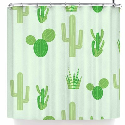 Famenxt Prickly Mint Cactus Shower Curtain