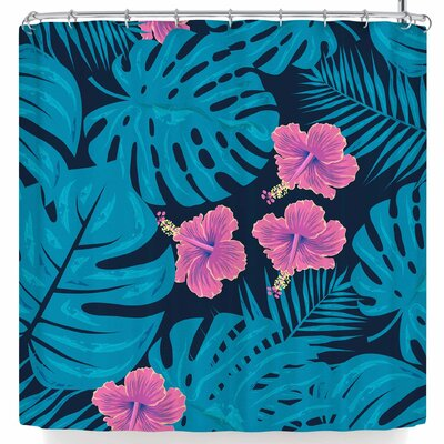 Famenxt Tropical Monstera Hibiscus Shower Curtain