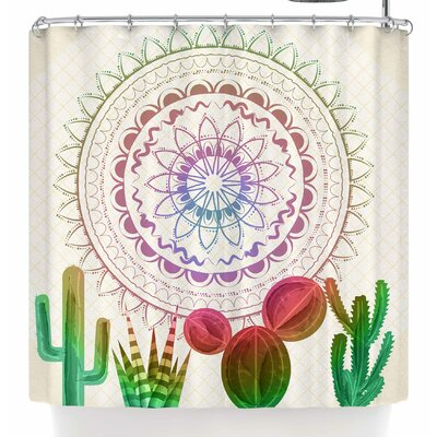 Famenxt Desert Festive Cactus Mandala Shower Curtain